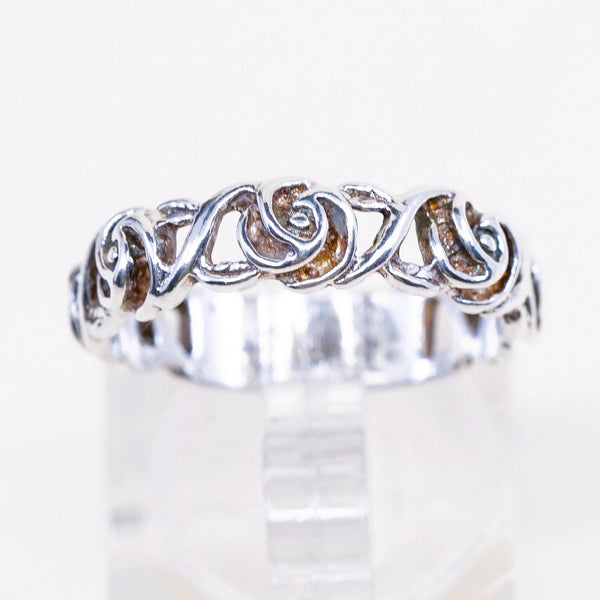 stamped 925 vintage Sterling silver handmade ring 925 band with marcasite Size 7.25