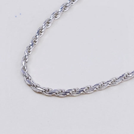 Details about  /Real Solid Silver Rope Chain 22in 2mm .925 Italy Stamped