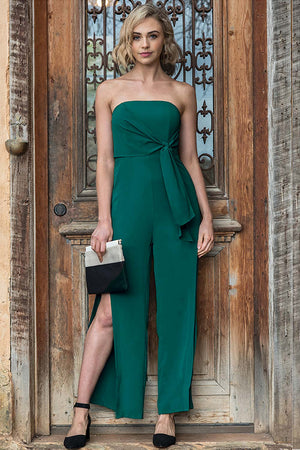 Green Strapless Formal Jumpsuit with Splits