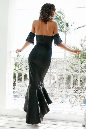 Miss Holly LUCIANA BLACK Lace Off the Shoulder Cold Shoulder Sleeve Neoprene Fishtail Formal Dress