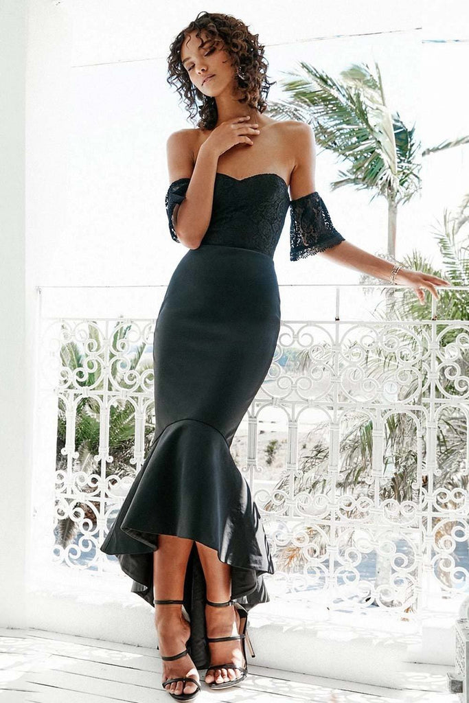Miss Holly LUCIANA BLACK Lace Off the Shoulder Neoprene Fishtail Formal Dress