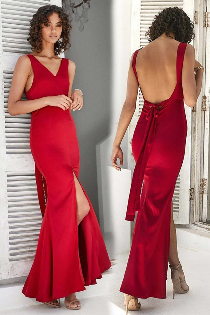 Thira Red Backless Formal Dress - Formal Dresses - Aurium Boutique