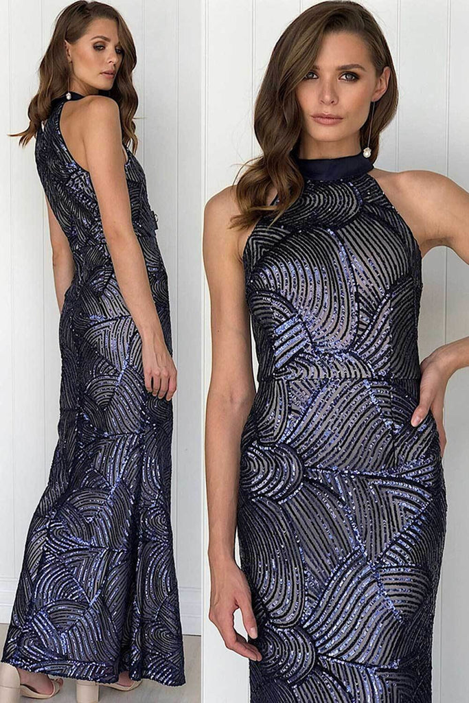 Rosalina Navy Sequin Halter Formal Dress - Formal Dresses - Aurium Boutique