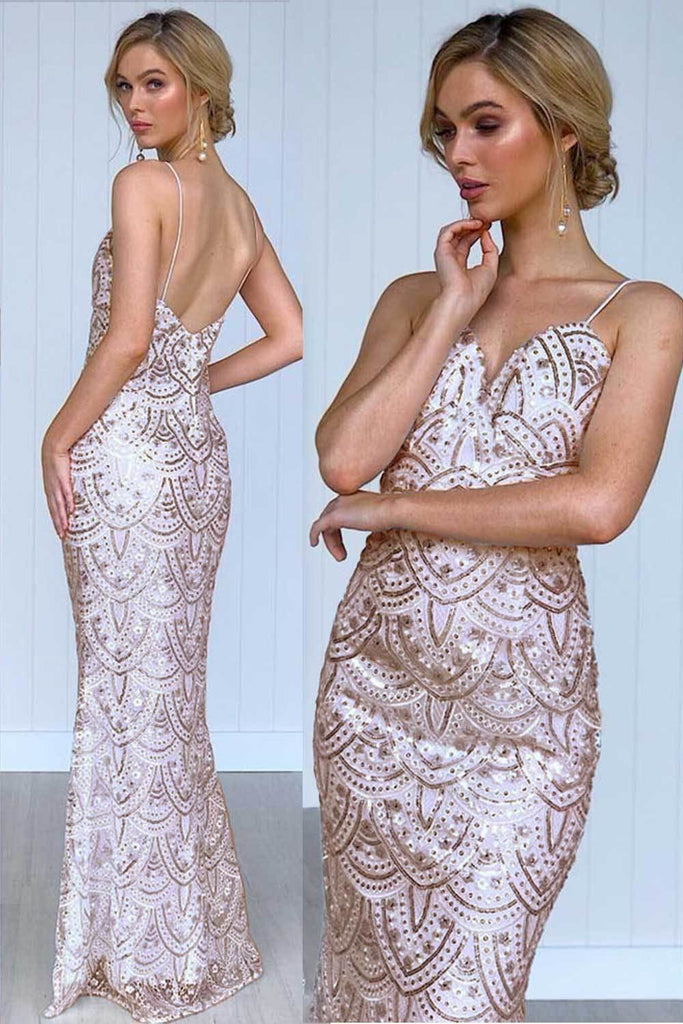 Veronica Rose Gold Sequin Formal Dress - Formal Dresses - Aurium Boutique