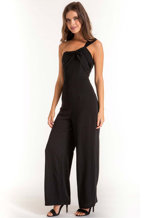 Hannah Black One Shoulder Formal Jumpsuit