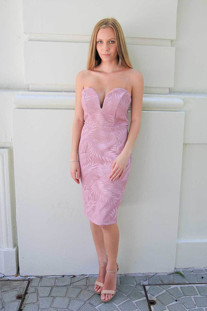 Alexander Strapless Dusty Pink Dress - Cocktail Dresses - Aurium Boutique