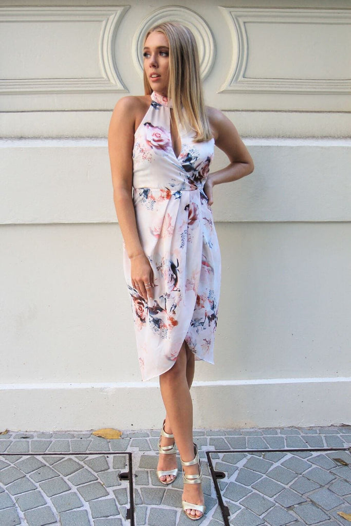 Calypso Floral Halter Midi Dress - Cocktail Dresses - Aurium Boutique
