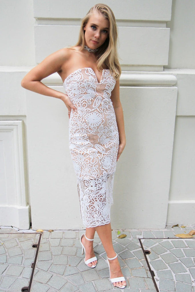 Serenity Lace Midi Dress - Cocktail Dresses - Aurium Boutique