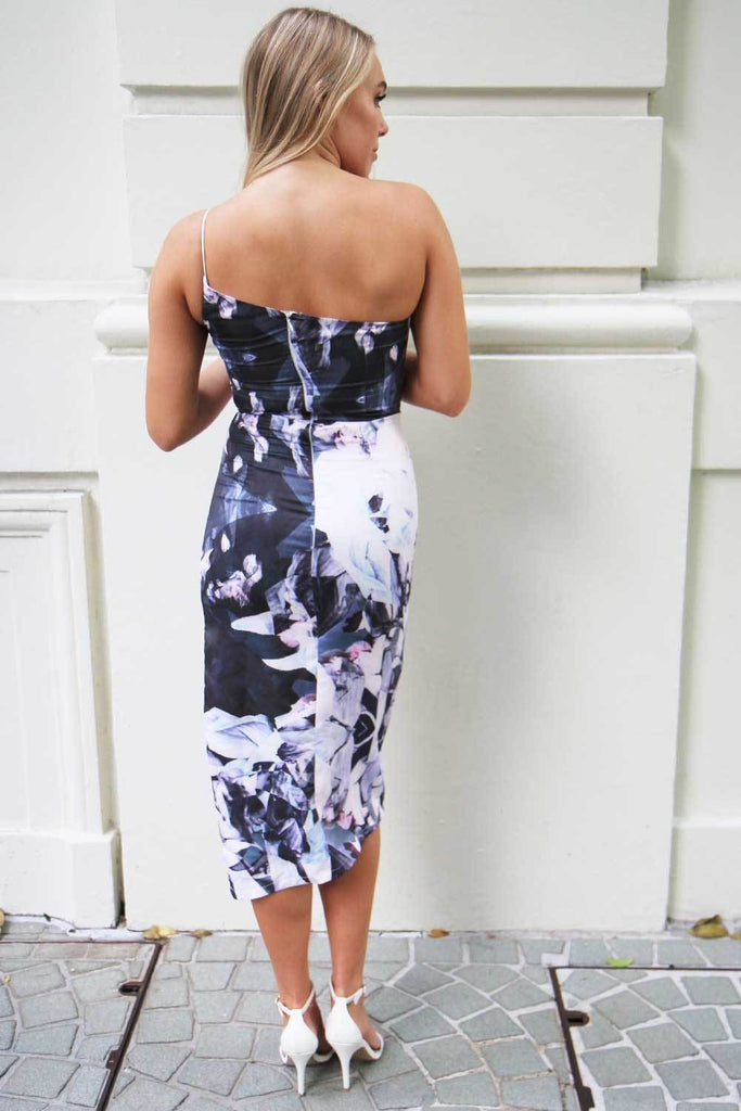 Lulu Floral Asymmetric Dress - Cocktail Dresses - Aurium Boutique
