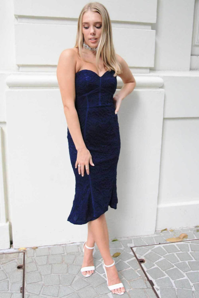 Lumier Larissa Navy Lace Midi Dress - Cocktail Dresses - Aurium Boutique