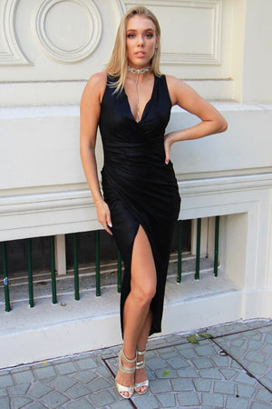 Parisian Nights Black Draped Dress - Formal Dresses - Aurium Boutique