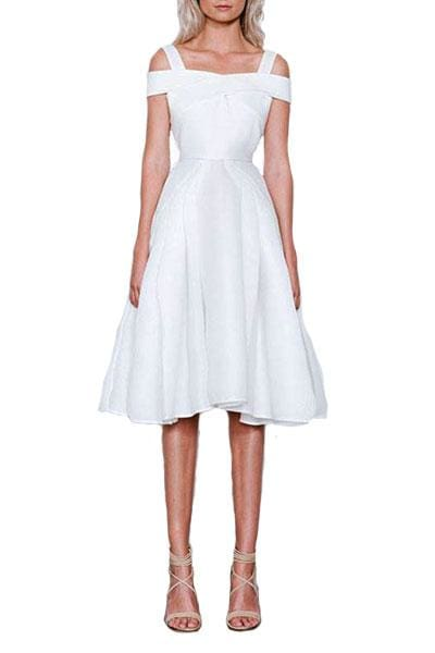 Verve A-Line White Dress - Cocktail Dresses - Aurium Boutique
