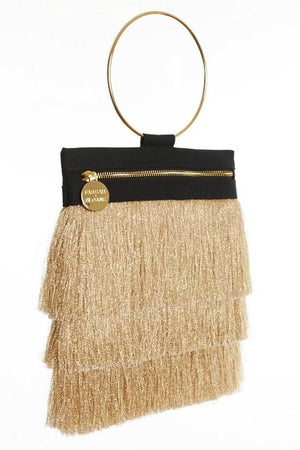 Cassia Gold Fringe Bag - Clutches & Bags - Aurium Boutique