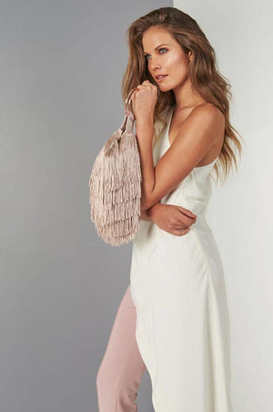 Margot Short Fringed Blush Clutch - Clutches & Bags - Aurium Boutique