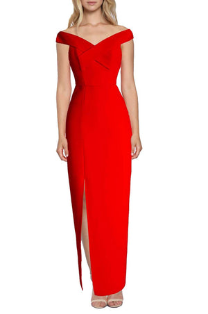 Lumier Lawless Off Shoulder Red Formal Dress - Aurium Boutique