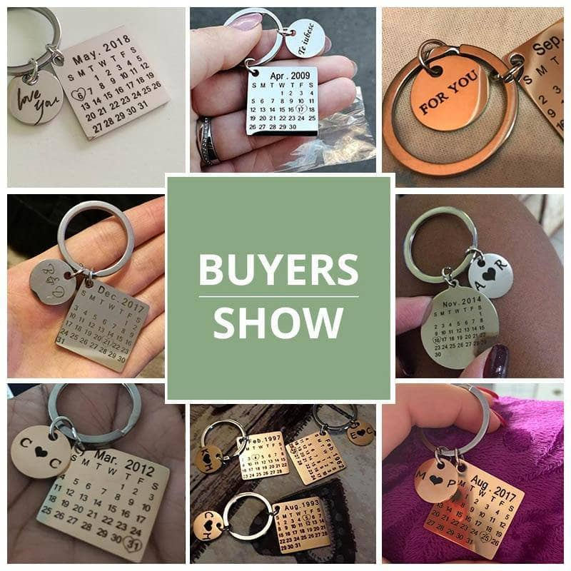 "Personalized Calendar Keychain: ""WITH YOUR OWN MESSAGE"" - NovaShop365 ™"