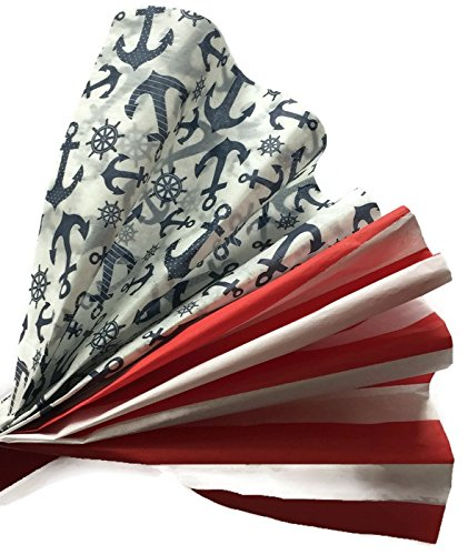 Nautical Tissue Paper Bundle, Anchors & Stripes