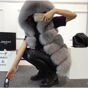Kim Fox Fur Gilet With Hood
