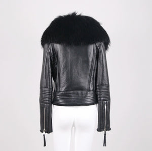 Amber Leather Jacket With Racoon Collar