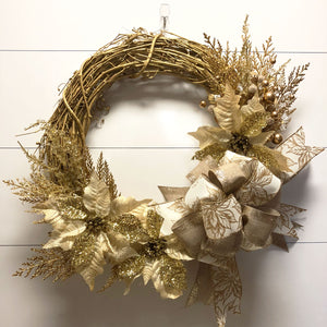 Gold Grapevine Christmas Wreath