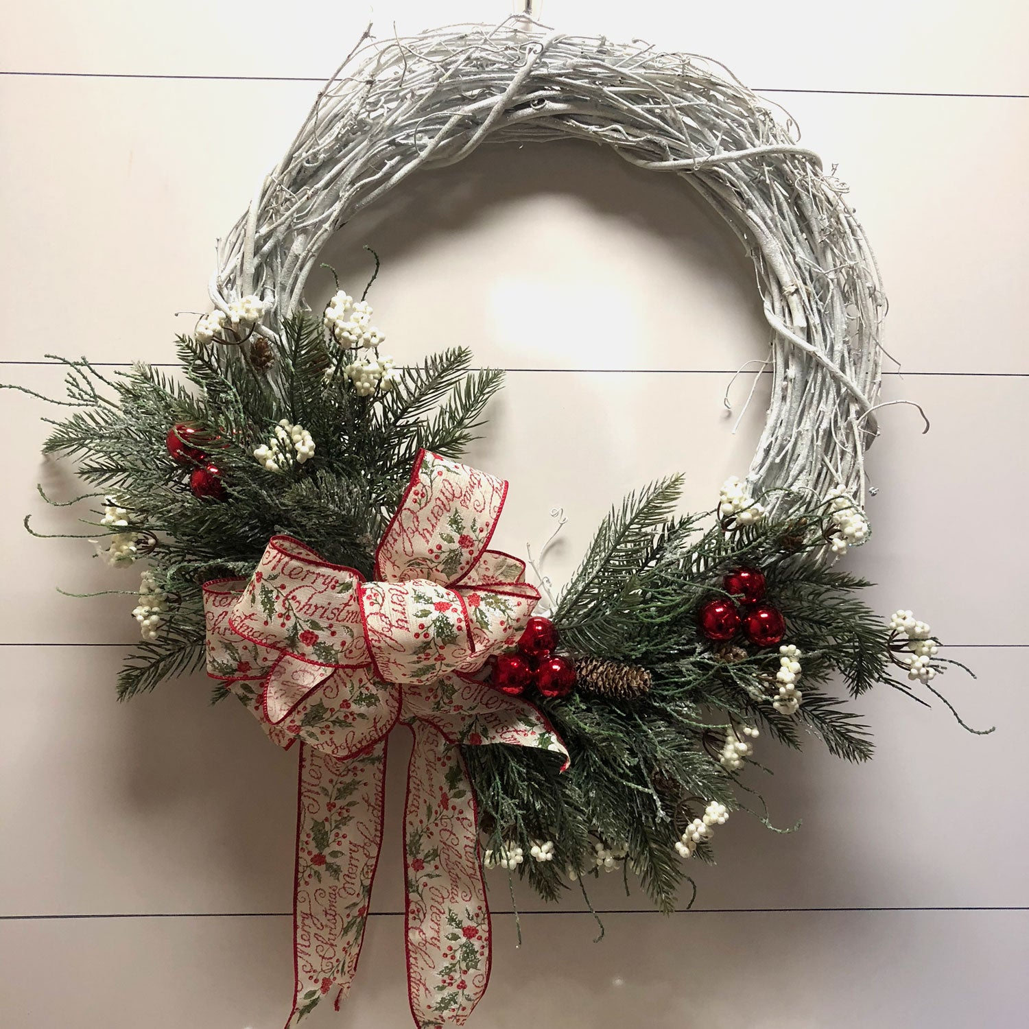 White Grapevine Christmas Wreath