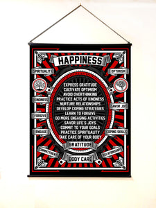 Extra Large (4 ft by 3 ft) Banner Black Happiness