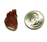 Anatomical Heart Pin (Red and gold)