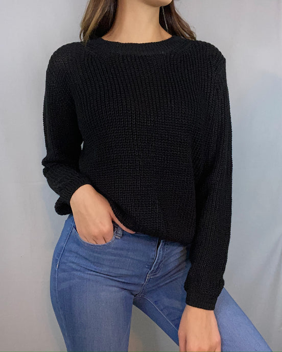 Vivian Black Knit Sweater