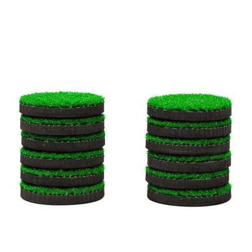 An image of 12 turf hole covers for the PutterBall outdoor golf game.