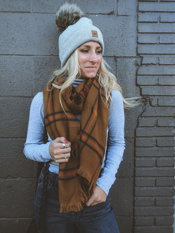 Blair Plaid Long Scarf Rust