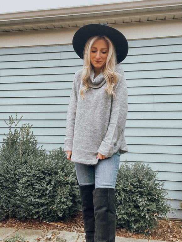 Aria Gray Cowl Neck Sweater