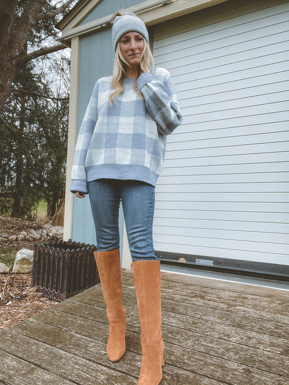 Baby Blue Buffalo Check Sweater