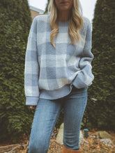 Load image into Gallery viewer, Baby Blue Buffalo Check Sweater