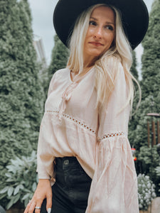 Boho Bell Sleeve Top Pink