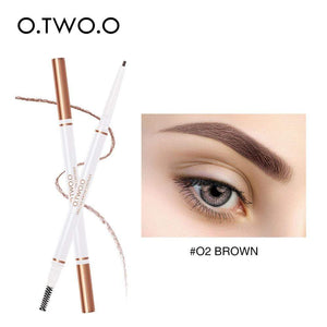 Oiko Store  02 brown O.TWO.O Eyebrow Pencil Waterproof Natural Long Lasting Ultra Fine 1.5mm Eye Brow Tint Cosmetics Brown Color Brows Make Up