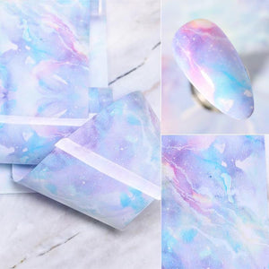 Oiko Store  03 100x4cm Nail Foils Marble Series Pink Blue Foils Paper Nail Art Transfer Sticker Slide Nail Art Decals Nails Accessories 1 Box