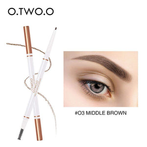Oiko Store  03 middle brown O.TWO.O Eyebrow Pencil Waterproof Natural Long Lasting Ultra Fine 1.5mm Eye Brow Tint Cosmetics Brown Color Brows Make Up