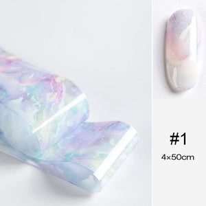 Oiko Store  08 100x4cm Nail Foils Marble Series Pink Blue Foils Paper Nail Art Transfer Sticker Slide Nail Art Decals Nails Accessories 1 Box