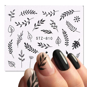 Oiko Store  1 Sheet Black White Leaf Nail Art Sticker Slider Flower Water Decals Decor Watermark Tattoo Manicure Accessories LASTZ808-815-1