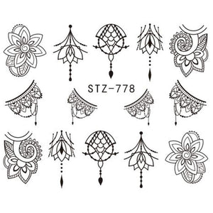 Oiko Store  1 Sheet Jewelry Flower Water Decal Black Sticker For Nail Pattern Painting Wrap Paper Foil Tip Tattoo Manicure SASTZ766-778