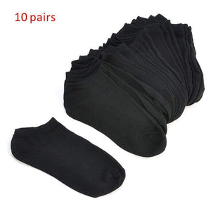Oiko Store  10 Pairs Women Socks Breathable Sports socks Solid Color Boat socks Comfortable Cotton Ankle Socks White Black ~