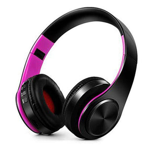 Oiko Store  10black pink New Portable Wireless Headphones Bluetooth Stereo Foldable Headset Audio Mp3 Adjustable Earphones with Mic for Music