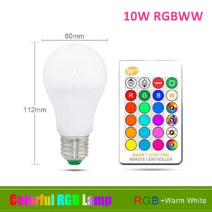 Oiko Store  10W RGB Warm White / Yes 110V 220V E27 RGB LED Bulb Lights 5W 10W 15W RGB Lampada Changeable Colorful RGBW LED Lamp With IR Remote Control+Memory Mode