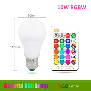 Oiko Store  10W RGB White / Yes 110V 220V E27 RGB LED Bulb Lights 5W 10W 15W RGB Lampada Changeable Colorful RGBW LED Lamp With IR Remote Control+Memory Mode