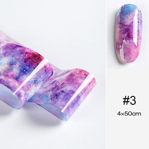 Oiko Store  11 100x4cm Nail Foils Marble Series Pink Blue Foils Paper Nail Art Transfer Sticker Slide Nail Art Decals Nails Accessories 1 Box