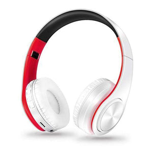 Oiko Store  11red white New Portable Wireless Headphones Bluetooth Stereo Foldable Headset Audio Mp3 Adjustable Earphones with Mic for Music