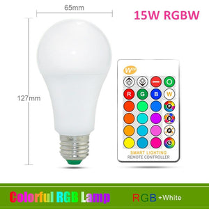 Oiko Store  15W RGB White / Yes 110V 220V E27 RGB LED Bulb Lights 5W 10W 15W RGB Lampada Changeable Colorful RGBW LED Lamp With IR Remote Control+Memory Mode