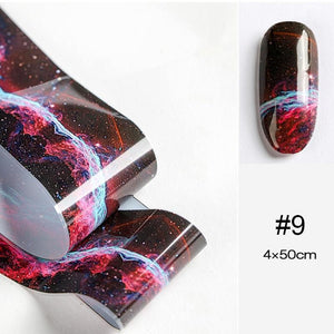 Oiko Store  17 100x4cm Nail Foils Marble Series Pink Blue Foils Paper Nail Art Transfer Sticker Slide Nail Art Decals Nails Accessories 1 Box