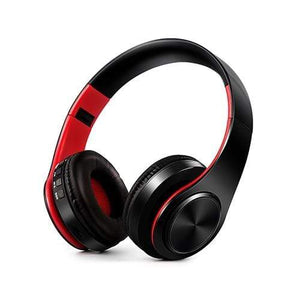 Oiko Store  1Black Red New Portable Wireless Headphones Bluetooth Stereo Foldable Headset Audio Mp3 Adjustable Earphones with Mic for Music