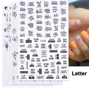Oiko Store  1pcs 3D Nail Slider Black Russia Letter Sticker Decals  Flamingo Design Adhesive Manicure Tips Nail Art Decorations CHF554-563